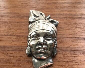 E. Monier Blackamoor Silver Head Brooch