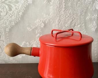 Vintage Dansk Kobenstyle Sauce Pot Pan Red Enamel Cookware IHQ Enameled Jens Quistgaard SALE