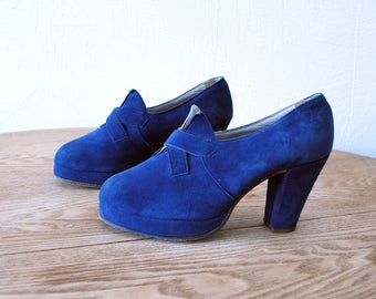 40s platform shoes. 40s blue suede shoes. 40s heels made by Oscaria - eur 37.5, us 7, uk 4.5