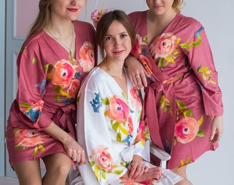 Premium Dusty Rose Bridesmaids Robes - Smiling Blooms Pattern - Soft Rayon Fabric - Better Design - Perfect getting ready robes