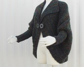 Hand Knit Cape Bolero Jacket Sweater Black Multi Colored Variations Handmade Plus Sizes Available