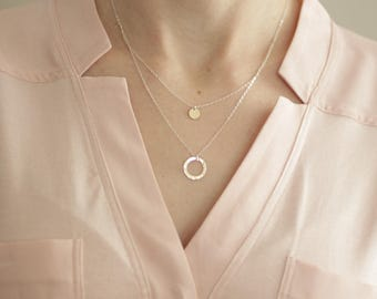 dainty necklace, dainty gold necklace, sterling silver, dainty silver necklace, delicate silver necklace, circle necklace, N77