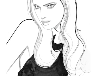 "Original fashion illustration sketch, sized 8 x 10"", titled Irina by Jessica Durrant"