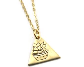 Succulent Necklace | Geometric Succulent Plant Lady Necklace | Hostess Gift | Succulent Planter | Small Succulent | Flower Plant Pot Jewelry