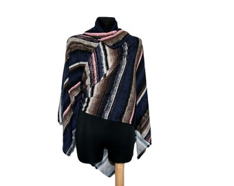 Multicolor stripes versatile women poncho top cardigan, 4 ways wraping, smooth cozy fabric, one size , only one in stock