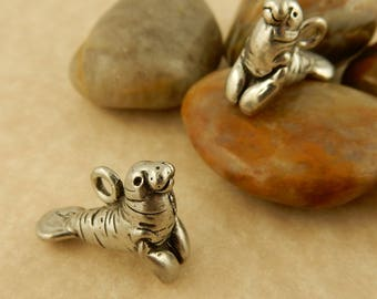 2 Vintage Pewter Manatee Charms for jewelry making