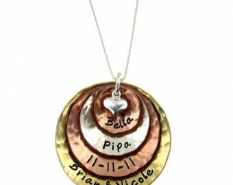 Mixed Metals with Puffed Heart - Four Layer Personalized Handstamped Jewelry