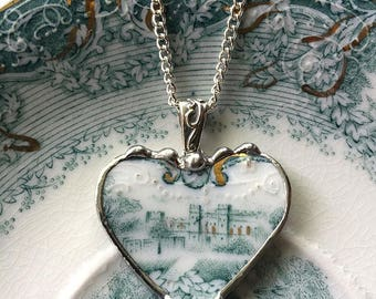 Antique teal blue-green English transferware castle broken china jewelry heart pendant necklace - recycled china - porcelain jewelry