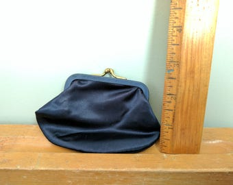 Navy Blue Kiss Clasp Coin Purse, Vintage Accessory, Silky Coin Purse, Wallet, 3 by 4.5 Inches