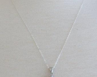 Silver Teardrop Larimar Necklace, Silver Necklace, 20 inch Silver Chain, Teardrop Larimar Pendant