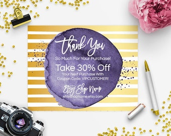30% OFF SALE Thank You Card - Business Thank You Card - Promotional Card - Branding - Packaging - Etsy Shop Cover - Geometric 6-16