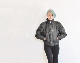 glitter polka dot ski jacket . retro 1980 puffy snow bunny coat .small.medium .sale