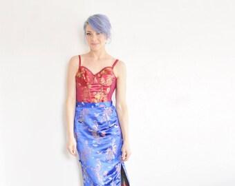 cobalt blue satin chinese skirt . high waist geisha secretary embroidered pattern .medium