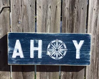 Nautical AHOY sign Beach and Nursery Decor Compass Vintage Style