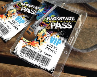Rockstar Party Backstage Passes - VIP Badges, Party like a Rockstar- Rock n Roll Birthday - Instant Download DIY Printable PDF Kit