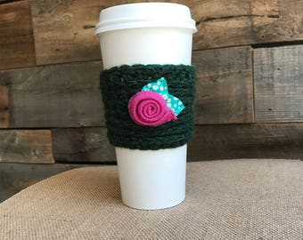Flower Coffee Cozy- Flower Tea Cozy- Flower Coffee Sleeve- Flower Cup Cozy- Pink and Gray Cozy- Mug Warmer- Eco Cup Sleeve- Travel Cup Gift
