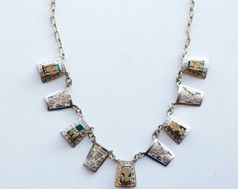Vintage Peruvian silver and gold with chrysocolla Incan symbols link necklace / 70s sterling green stone Inca skull hand crafted in Peru