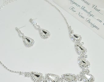 Tear Drop Rhinestone Necklace and Earring Set Delicate Wedding Bridal Jewelry