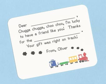 Choo Choo Train Fill in the Blanks Thank You Cards - Primary Train Cars - Toddler Thank You Cards, Train Thank Yous, Custom Train Stationery