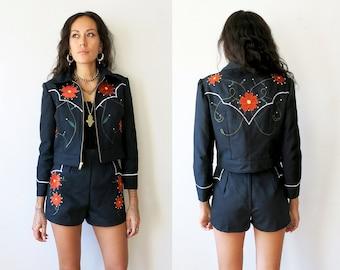 Floral Western Suit / Nudie Suit / Black Denim Jacket and Shorts / Shorts Suit Sz S