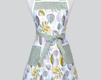 50s Style Retro Apron - Earthy Sage Leaves on White Womans Vintage Inspired Cute Housewife Kitchen Apron to Monogram Embroidery