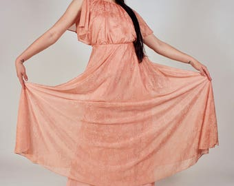 Vintage Salmon Dinner Party Dress
