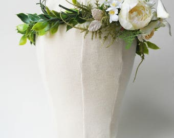 Rustic flower crown - boho chic crown - floral crown - wedding hair accessories - woodland hair wreath, bridal circlet- white rose garland