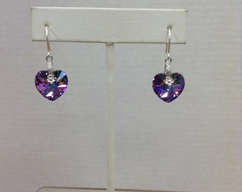 Swarovski and Sterling Silver Heart Earrings