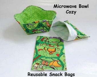 Teenage Mutant Ninja Turtles Reusable snack bags and microwave cozy
