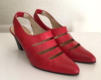 Vintage Women's Shoes 80's Red Leather Pumps by Annie Cruz (Size 6)