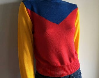 Vintage Women's 80's I. Magnin, Colorful Sweater, Long Sleeve, Pull Over (S)