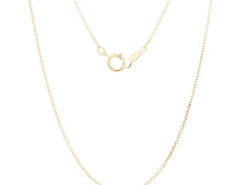 14K Gold Chain Necklace, Real 14K Gold Chain, 1mm Cable Chain, 16 inch, 18 inch, and 20 inch Necklace Chain, Dainty Necklace FREE SHIPPING