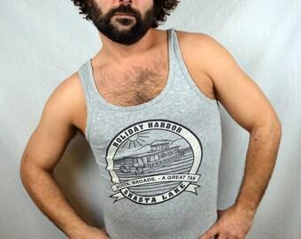 Vintage 80s Gray Rayon Blend Shasta Lake Tank Top Shirt
