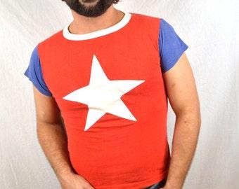 RARE Vintage 70s 80s Red White Blue Star Raglan Tshirt Tee Shirt