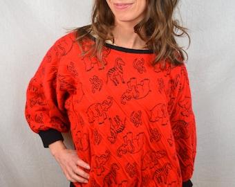 Vintage 80s Awesome Red Animal Sweatshirt - Zebra, Elephant, Monkey