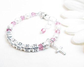 Baby Girl Name Bracelet // Baby Bracelet // Baptism Bracelet // Christening Bracelet // Child Name Bracelet // Beaded Name Bracelet