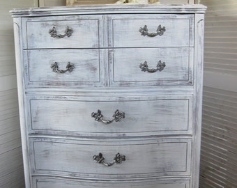 DRESSER Shabby Cottage Vintage Bow Front Highboy Chest of Drawers Fleur d'Lis Poppy Cottage Painted Furniture