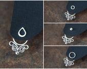 Handcrafted silver ear jacket earrings, front and back earring, solid sterling silver butterfly earring, unique artisan earrings, ear cuff