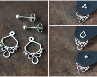 Handmade silver ear jacket earrings, front and back earring, abstract solid sterling silver earring, mix and match, interchangeable ear cuff