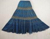 Long Blue Full Tiered Skirt Boho Chic Embroidered Flowers Gypsy Boho Maxi Skirt ML