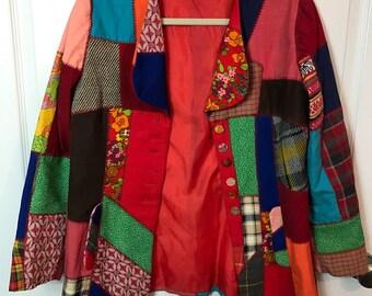 Vintage 1970s 70s Hippie Patchwork Jacket or Blazer - Boho - Unisex - Large