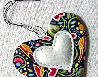 Quilted Heart - Hand Quilting - Sewing Room Decor and Pincushion - Cotton and Wool - Julie Paschkis Fabric