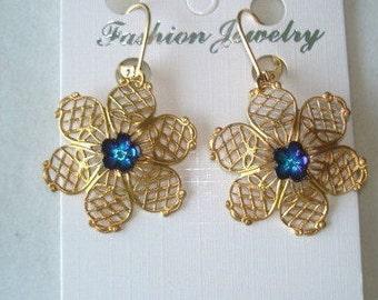 Blue Flower  Gold Tone Filigree Dangle Earrings