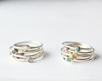 Mom Ring - Stackable Birthstone Rings - Mothers Birthstone Ring - Gemstone Stacking Rings - Mothers Ring - Thin Band Ring - Sterling Silver