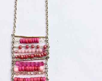 Necklace - Beaded Boho Ladder Style - Pinks - Bronze - Silver Chain