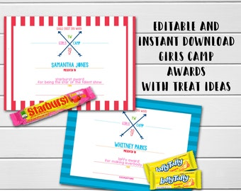 Young Women Girls Camp Awards, LDS Girls Camp, Editable Awards, Candy Treat Award Ideas & Cards, Instant Download, Mormon, Mutual Girls Camp