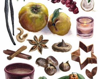 Fine Art Print of Original Watercolor Painting - Winter Kitchen