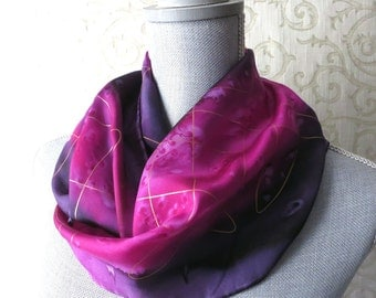 Silk Scarf Hand Dyed in Plum and Fuchsia with Gold