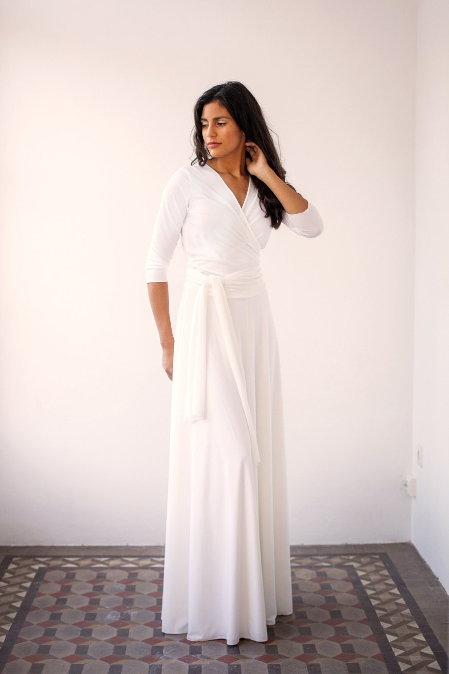 Wedding wrap dress wedding dress long wrap dress long white for Long sleeve casual wedding dresses