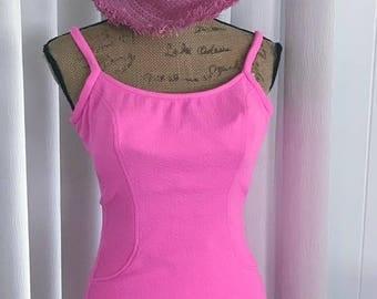 Vintage Bubblegum Pink 1960's Swimsuit by Jantzen -- Size L